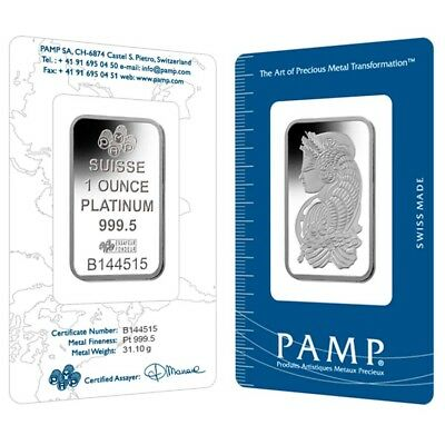 1 oz PAMP Suisse Lady Fortuna Platinum Bar .9995 Fine (In Assay)