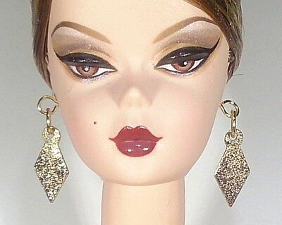 Dreamz GOLD Diamond Shape Dangle Earrings Barbie Doll Jewelry