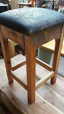 Vintage industrial factory oak stool with thick leather seat,machinist,welders