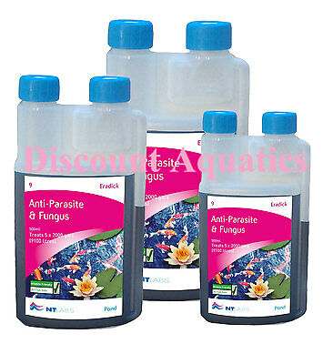 NT LABS POND ERADICK ANTI PARASITE FUNGUS CURE  250 or 500 or 1000ML WHITE SPOT