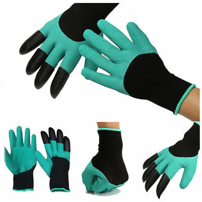 Gardening Genie Gloves with 4 ABS Plastic Claws Digging Planting Waterproof