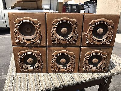 Antique Ornate Oak Singer Treadle Sewing Machine Cabinet Drawers 1910's Red Eye