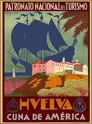 Hvelva Andalusia Spain Vintage Spanish Travel Advertisement Art Poster Print