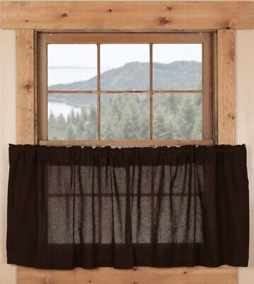 "Burlap Chocolate Brown 100% Cotton Cafe Curtains Country Window Tier Set 24"" L"