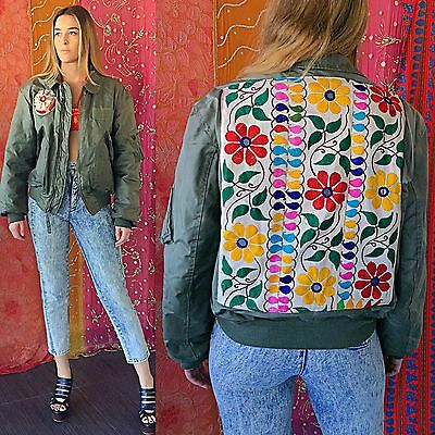 Vintage 70s Indian Army Jacket Embroidered Hippie Bohemian Biker Bomber