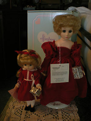 """Effanbee """"christmas Together"""" 2 Dolls  12"""" & 9"""" Tall 1988  Mint In Box"""