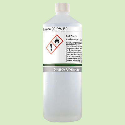 Acetone 99.5% 1 Litre (1L) BP in HDPE Bottle (Including Delivery)