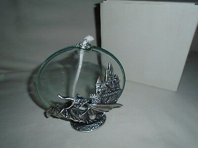 Pewter Dragon & Castle Blown Clear Glass Oil Lamp Wick Candle