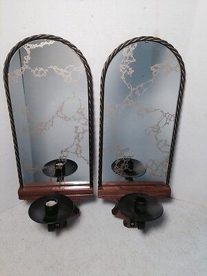 2 Vintage Wall Sconce Candle Holder Mirror Twisted Rope Metal Home Decor
