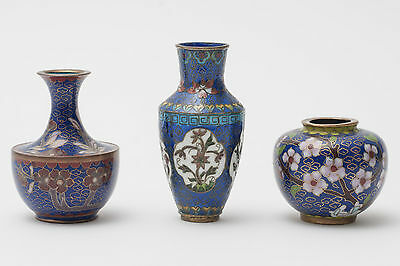 Group of 3 Chinese Enamel Cloisonne Miniature Vases with Cloud Wire Grounds