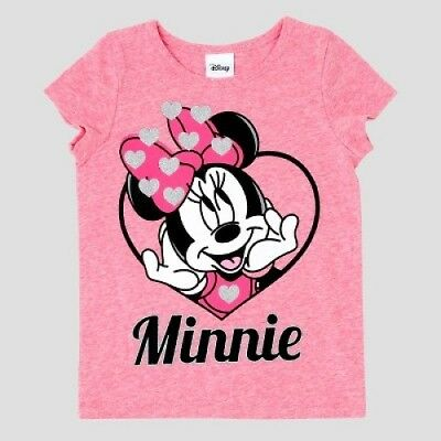 New DISNEY JUNIOR Toddler Girls Pink Minnie Mouse Short Sleeve T Shirt Size 18 M