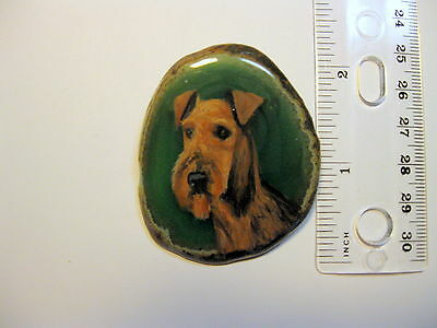 airedale terrier dog brooch/pendant on agate