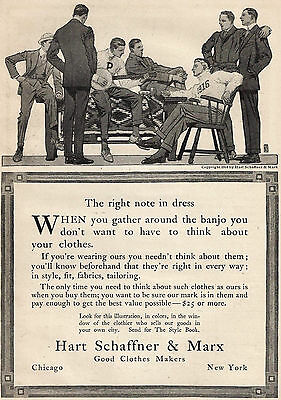 1914 Ad Hart Schaffner & Marx College Students Guy Playing Banjo Right Note