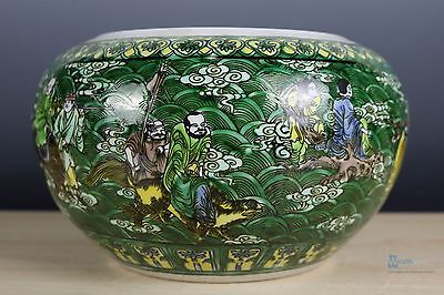 Fine Beautiful Chinese Three colors porcelain the Eight Immortals Brush Washers