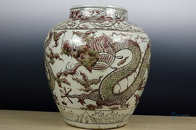 Beautiful Chinese Huge Glaze red porcelain Dragon pot