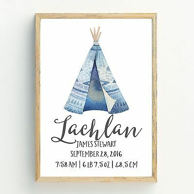 Boys Boho Tribal Teepee Nursery Print, Baby, Bedroom Wall Art Decor Birth Print