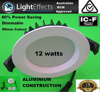 90x 12 WATT LED DOWNLIGHT DIMMABLE WARM WHITE 3000K 90mm CUTOUT AU APPROVAL IP44