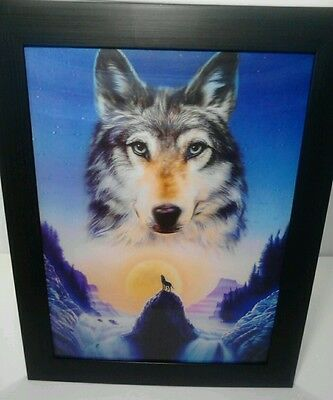 "3D 3-D Framed Wolf Art 18"" X 14"""
