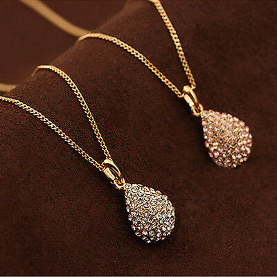 Fashion Women  Gold Silver Plated Crystal Pendant Long Chain Statement Necklace