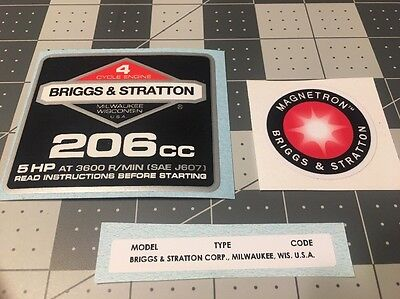 Briggs & Stratton 5-hp 206cc 1986-91 Shroud Labels Decals set of 3