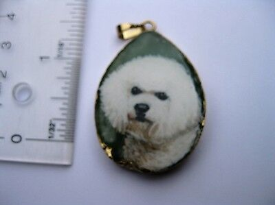 bichon friese dog pendant on gold wrapped jasper