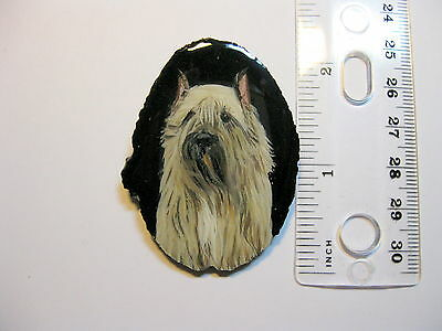 bouvier dog pin/pendant on agate