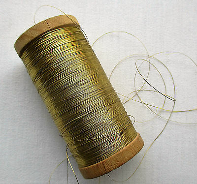 Vintage Wooden Spool of Gold Metallic Flat Thread  French