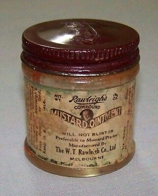 VINTAGE 1940,s RAWLEIGH'S MUSTARD OINTMENT JAR- PAPER LABEL