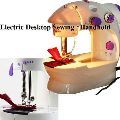 Portable Mini LED Electric Sewing Machine 2-Speed Desktop Handheld Household