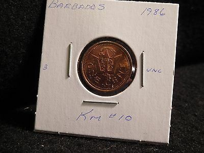 Barbados:   1986   One Cent  Coin    (Unc.)    (#2828)  Km # 10