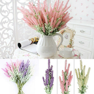 12-Heads Artificial Silk Lavender Fake Flower Wedding Bouquet Party Home Decor