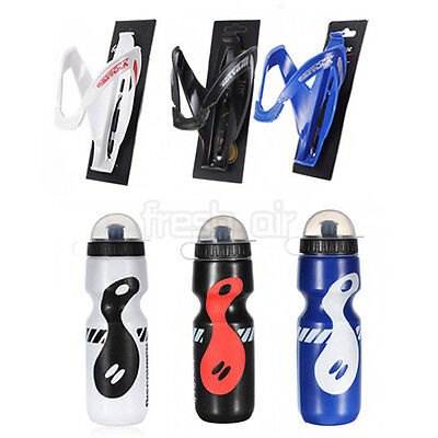 Outdoor Sports MTB Bike Bicycle Cycling Drink Water Bottle + Holder Cage Rack AU