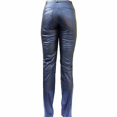Lederhose bootcut Hose echtes Leder schwarz Damen genuine leather pants womens