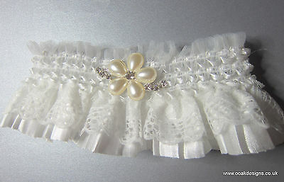Handmade Wedding Bride Garters 3 Designs Something Blue Tartan & Pearl Flower