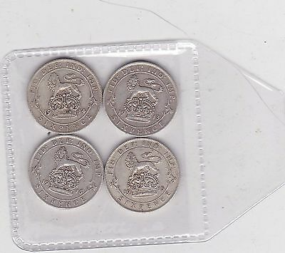 Four Silver Sixpences Dated 1913/1914/1915 & 1916 In Fine Or Better Condition
