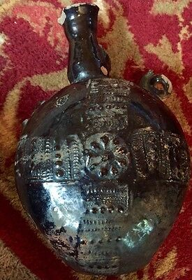 Rare Ancient Old Pilgrims Flask Pottery From France Very Light