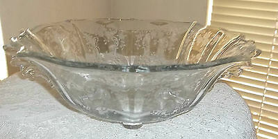 Outstanding Fostoria Elegant Etched Bowl Navarre? Double Handled Large Footed