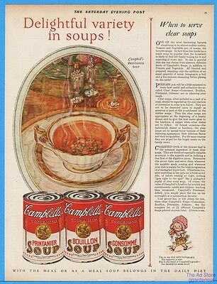 1928 Campbells Soup Kid Ad White Gold China Bowl Printanier Consomme Bouillon
