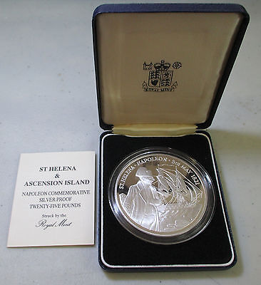 St Helena & Ascension Island Napoleon 25 Pounds .999 silver PROOF 5 ozt