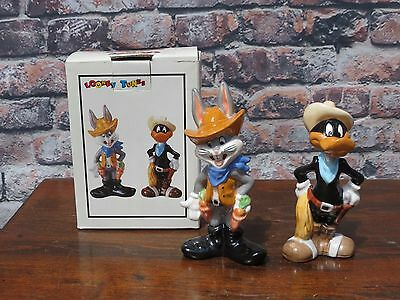 New In Box Looney Tunes Bugs Bunny & Daffy Duck Cowboys Salt & Pepper Shakers
