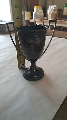 Vintage Antique Silver Plate Silverplate Engraved Loving Cup Trophy Tarnished