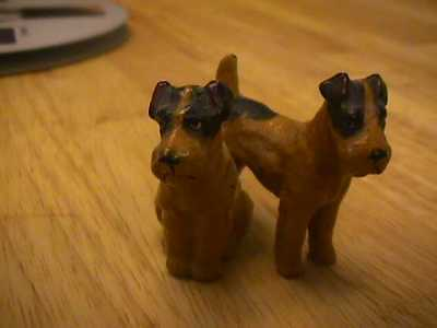 Miniature metal painted Airedale terrier (?) dog figurine