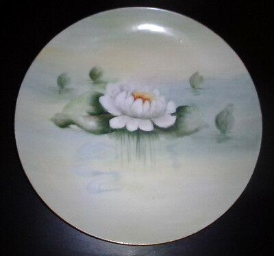Vtg KPM Collector Plate,Hand Painted Floral German Plate wGold Trim- Lily Pad-8