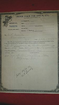Vintage LARGE 1919 United States Order Form for Opium, Etc. MORPHINE- Rouses Pt