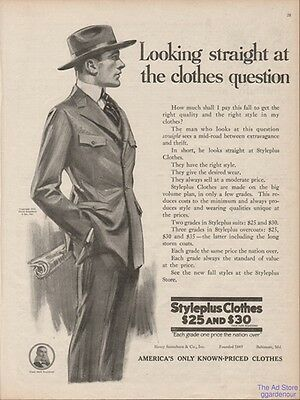 1918 Styleplus Men s Suit Looking Straight at the Clothes Question Fashion Ad