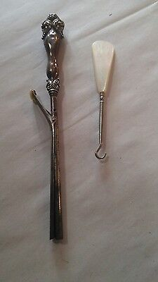 Vintage Sterling SIlver Handle Curling Iron AND MOTHER OF PEARL BUTTON HOOK