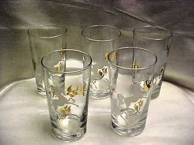 1950's Libbey Glass Rock Sharpe Prancing Colts Horse Unicorn Tumbler Lot of 5