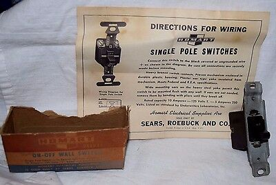 Vintage Sears Homart Electrical Supplies On Off Single Pole Light Switch w/ Box