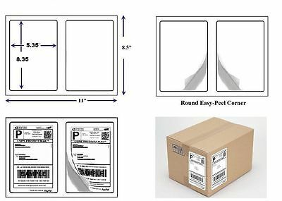 "4000 QUALITY ROUND CORNER SHIPPING LABELS 2 PER SHEET (2000 SHEETS) 8.5"" x 5.5"""