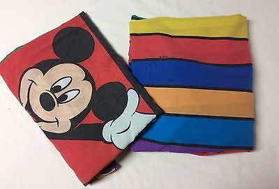 Disney 2pc Mickey Mouse Minnie Twin Bed Flat Fitted Sheets Red Squares Fabric